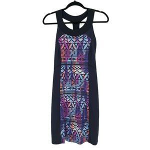 Title Nine Fierce Racerback Blue Swim Dress Small